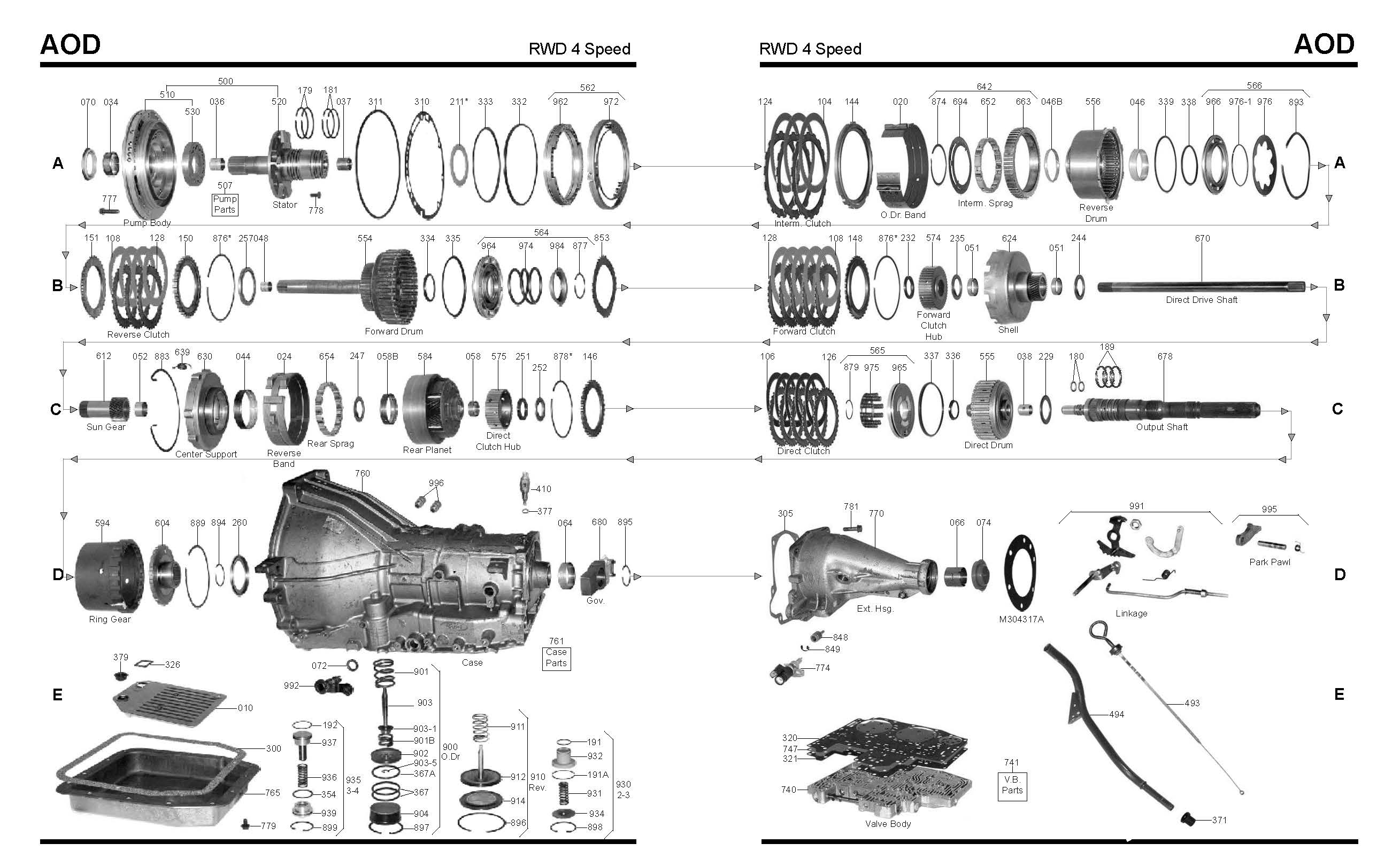aod pump diagram ford aod transmission master rebuild kit from alto stage 3 ... aod harness diagram