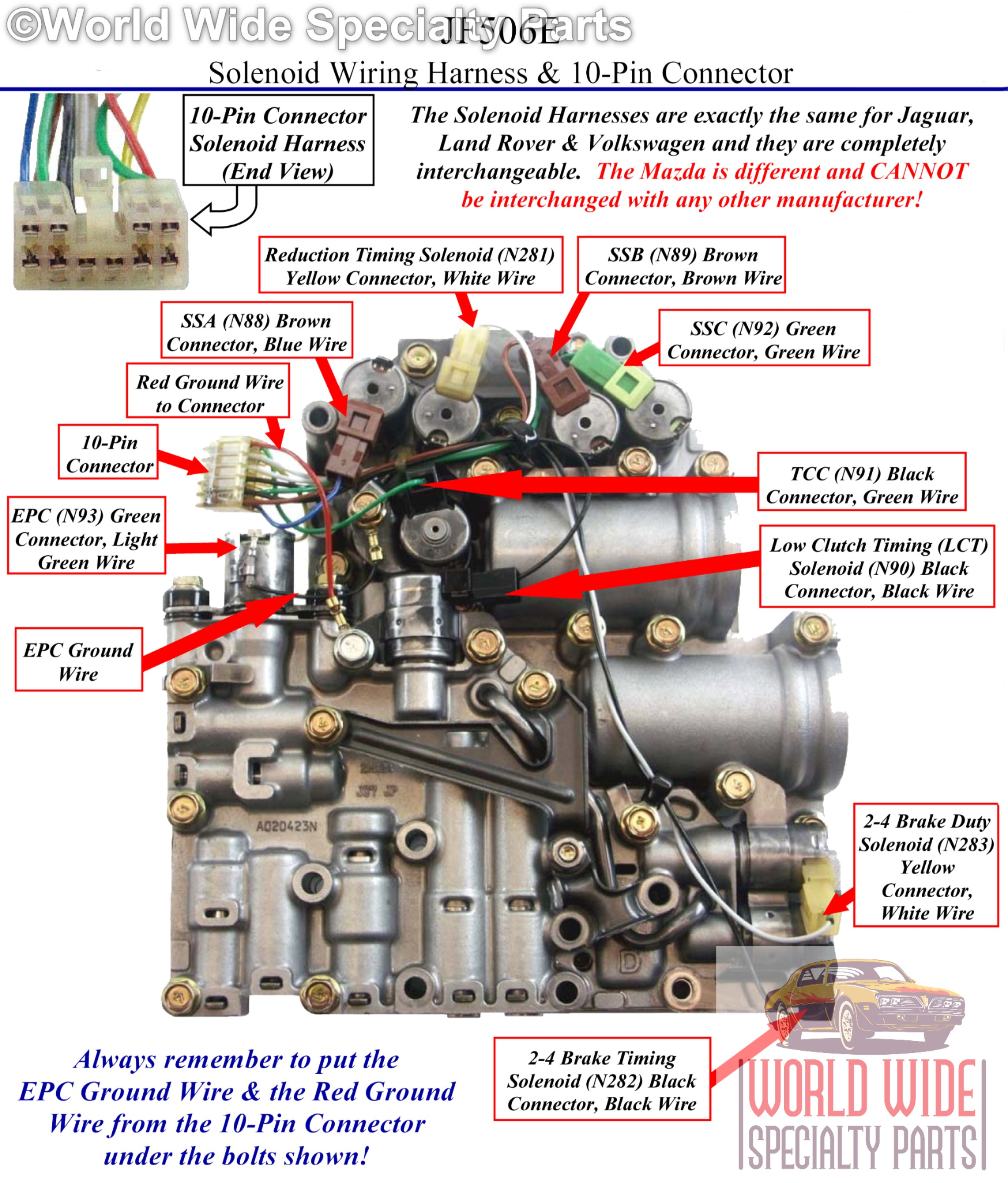 In the above photo you will see a detailed guide to the proper wiring  connections for the JF506E VW/Audi Valve Body.